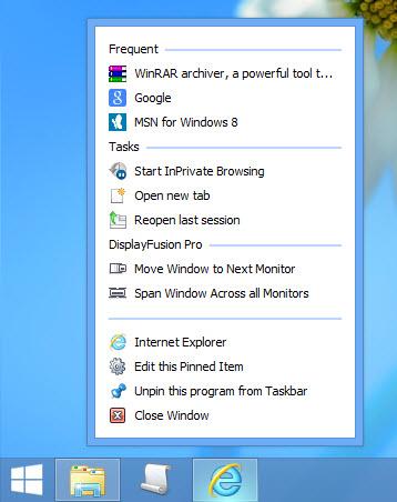 Full Taskbar Jump Lists