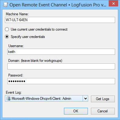 Remote Event Channel Connection Dialog