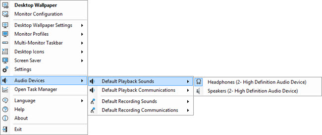 Tray Menu: Audio Devices
