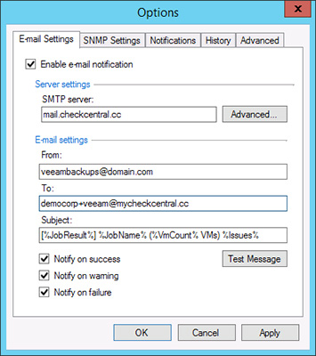 Veeam Email Configuration