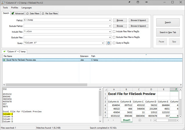 Search with Excel Preview