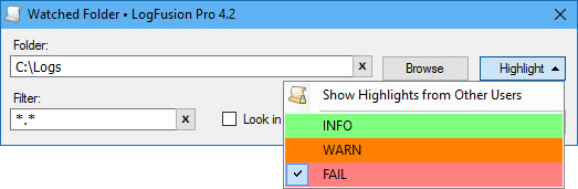 Adding Highlight Rules to Watched Folders