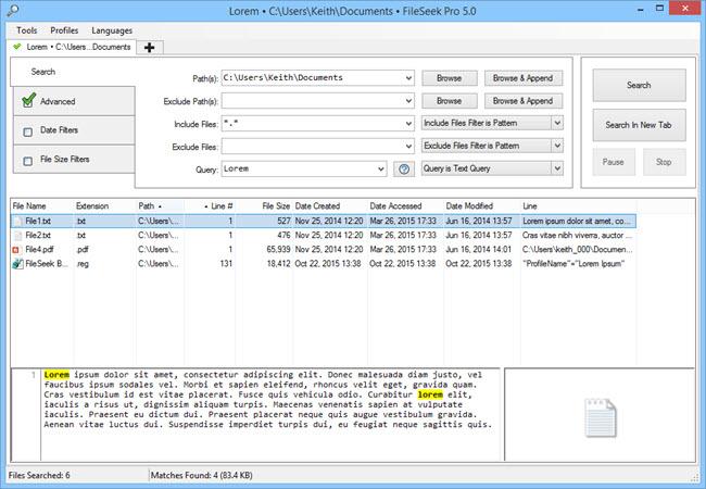 FileSeek 5.0 Main Window