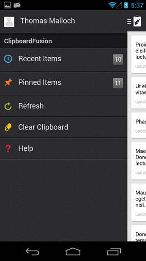 Mobile App: Side Menu