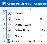 Clipboard Manager Tab Context Menu