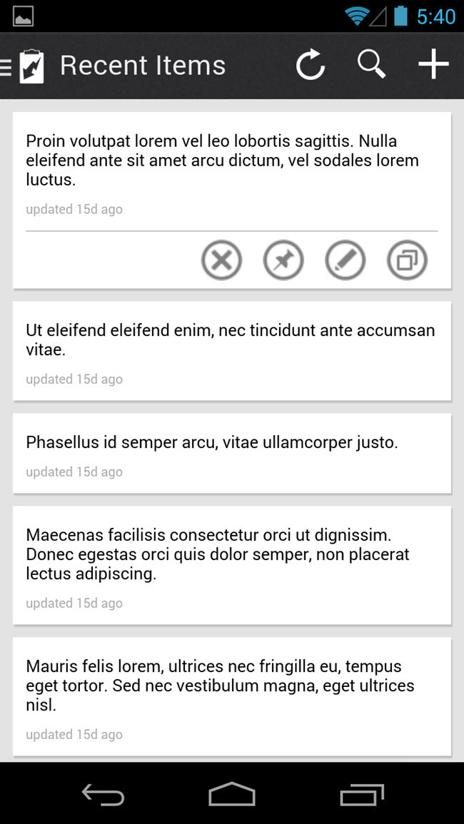 Mobile App: Recent Items