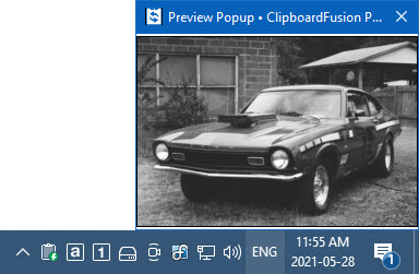 Preview Popup for Copied Image
