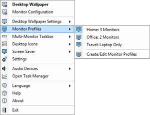 Monitor Profiles Sub-menu