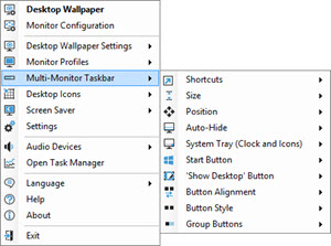 Multi-Monitor Taskbars Sub-menu (per-taskbar settings)