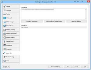 Settings > License Key Tab