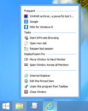 """Jump Lists"" on the DisplayFusion Taskbar"