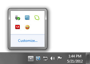 Notification area (&quot;system tray&quot;) on<br/>the DisplayFusion Taskbar