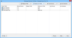 Manage Monitor Profiles Window