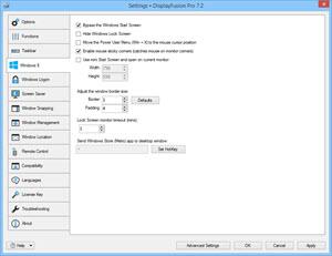 Settings > Windows 8 Tab