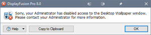 Error Message When Desktop Wallpaper is Blocked by Group Policy