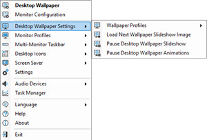 Wallpaper Settings Sub-menu for Loading Profiles and New Images
