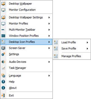 Desktop Icon Profiles Sub-Menu