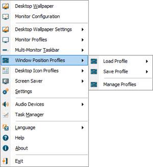 Window Position Profiles Sub-Menu