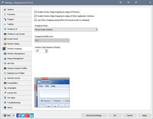 Settings > Window Snapping Tab