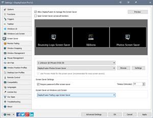 Settings > Screen Saver Tab