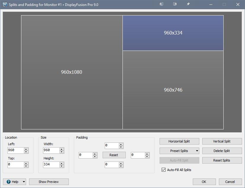 Monitor Splits and Padding