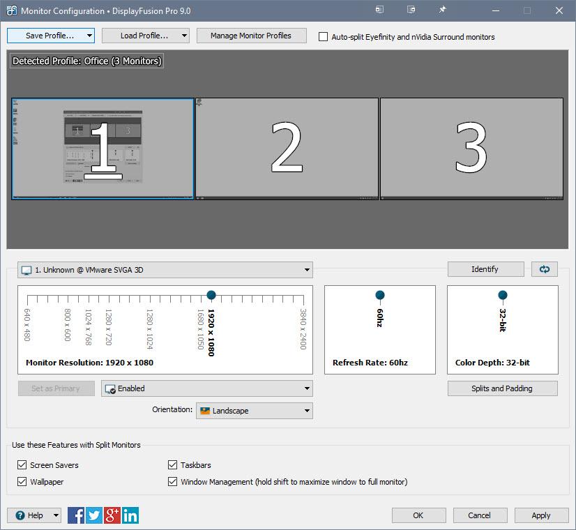 DisplayFusion 監視器組態視窗