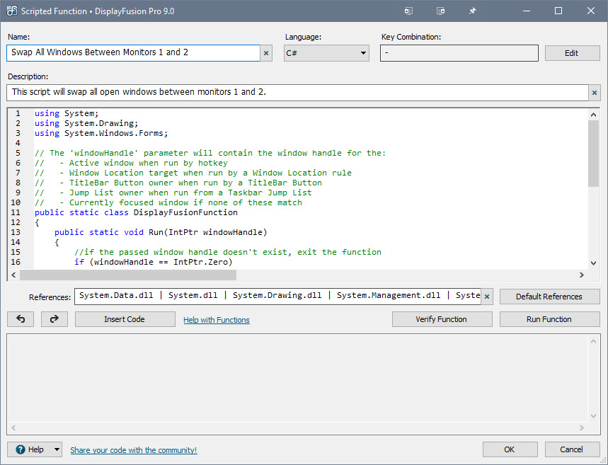 脚本函数编辑器窗口