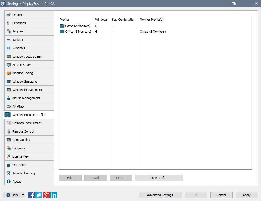 设置 > 「窗口位置配置文件」