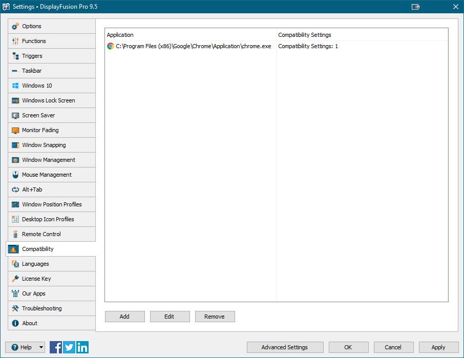 Settings > Compatibility Tab