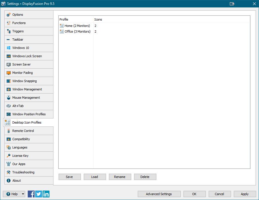 Settings > Desktop Icon Profiles