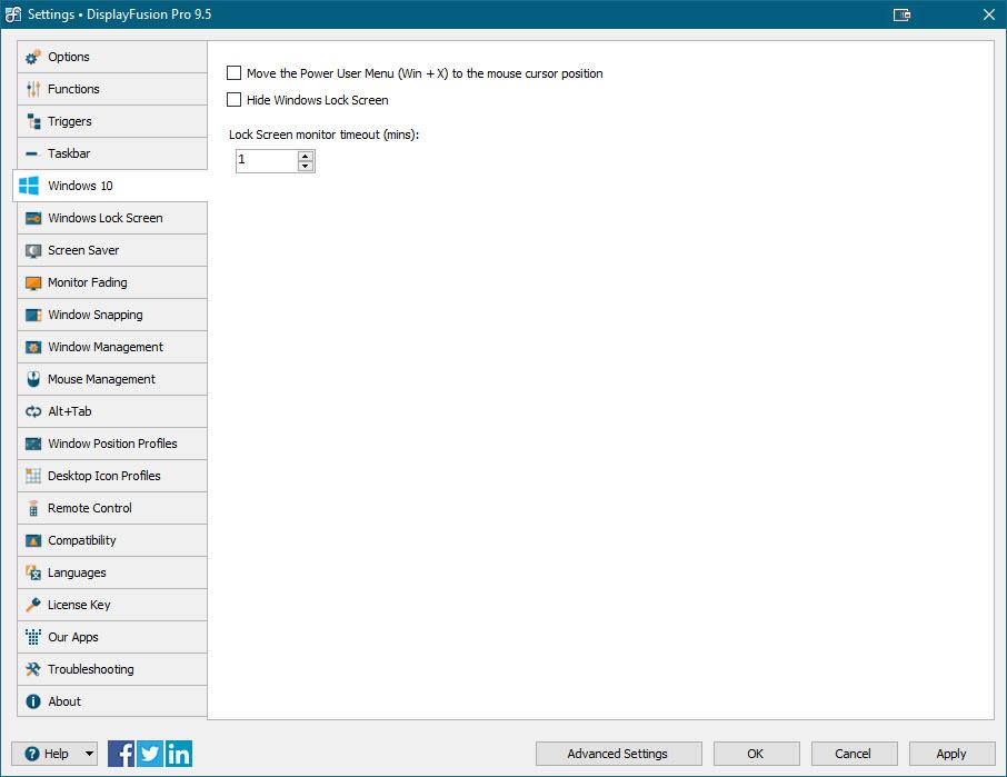 Settings > Windows 10 Tab
