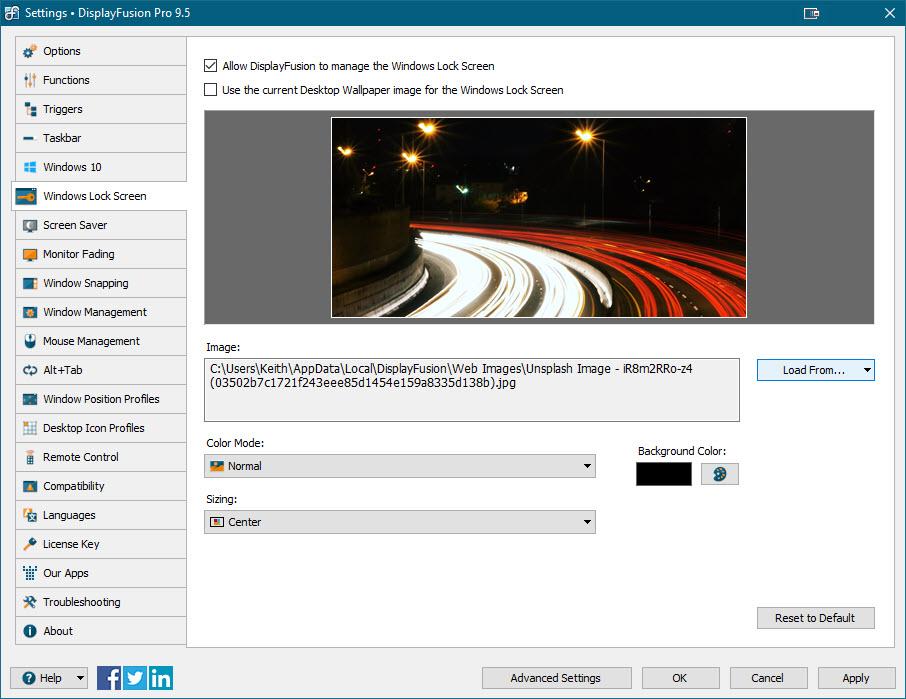 Settings > Windows Lock Screen Tab
