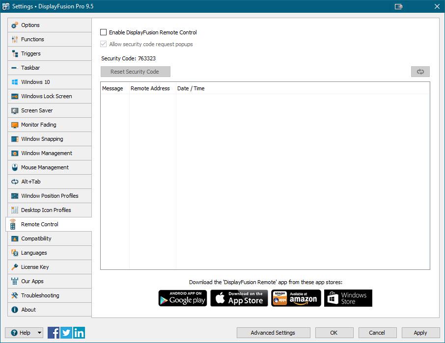 Settings > Remote Control Tab