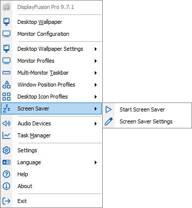 Screen Savers Sub-menu