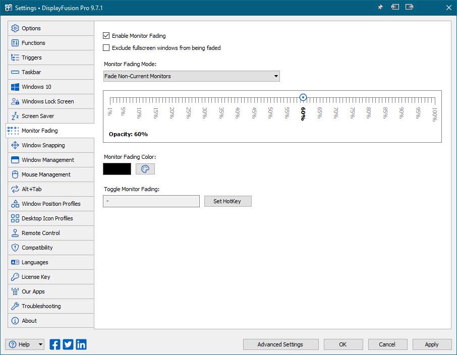 Settings > Monitor Fading Tab