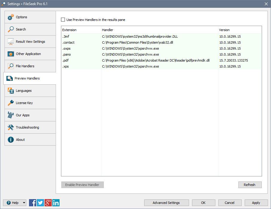 FileSeek Settings: Preview Handlers