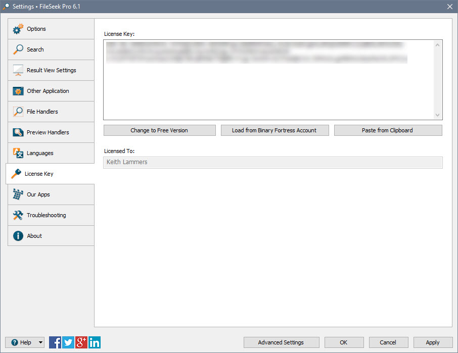 FileSeek Settings: License Key