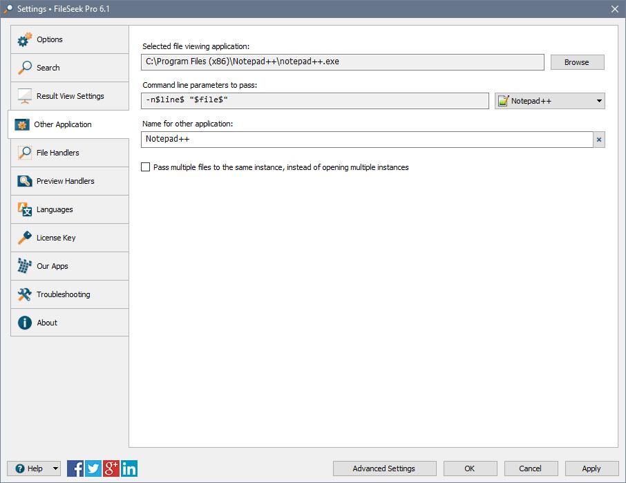 FileSeek Settings: Other Application