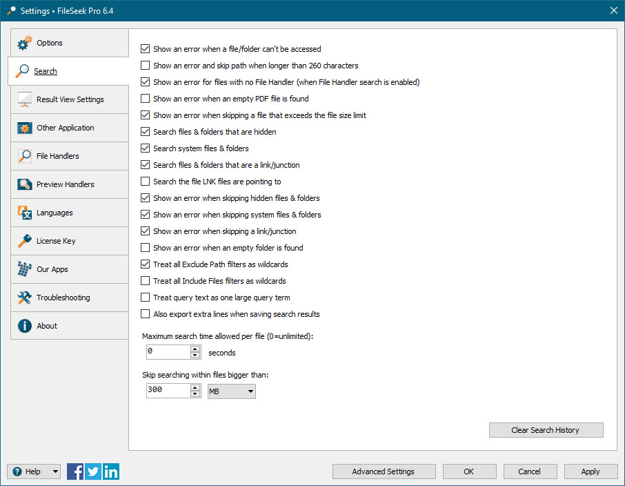 FileSeek Settings: Search