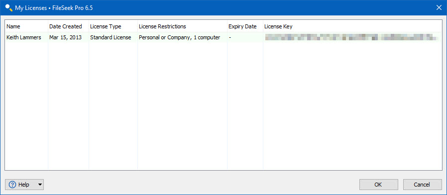 Binary Fortress Account: My Licenses Dialog