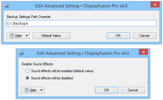 Advanced Settings Edit
