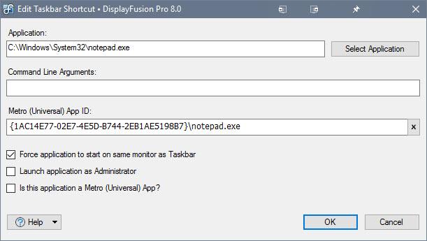 Edit Application Shortcut