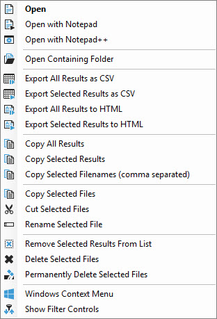 File Result Context Menu