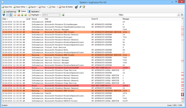 Highlighted Log Lines