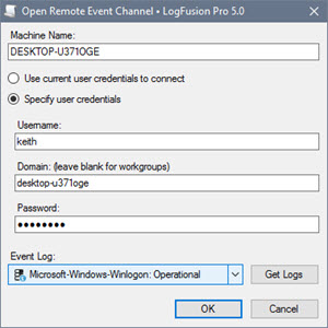Connection Dialog for Remote Windows Event Channel