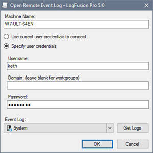 Connection Dialog for Remote Windows Event Log