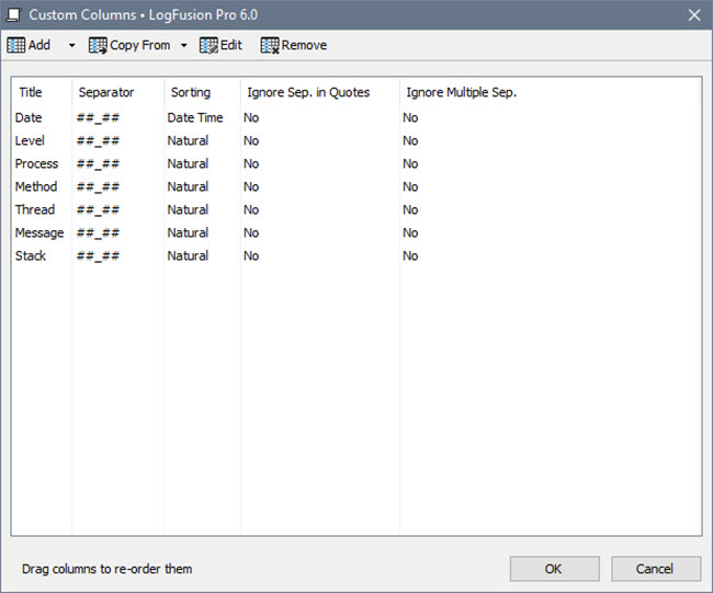 Column Configuration Editor
