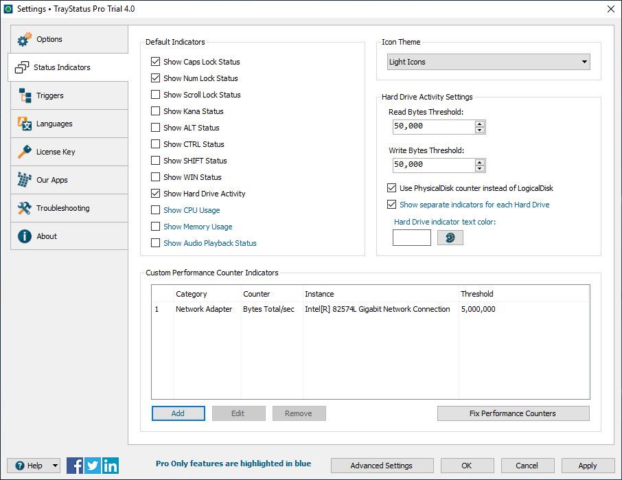 Settings > Status Indicators Tab