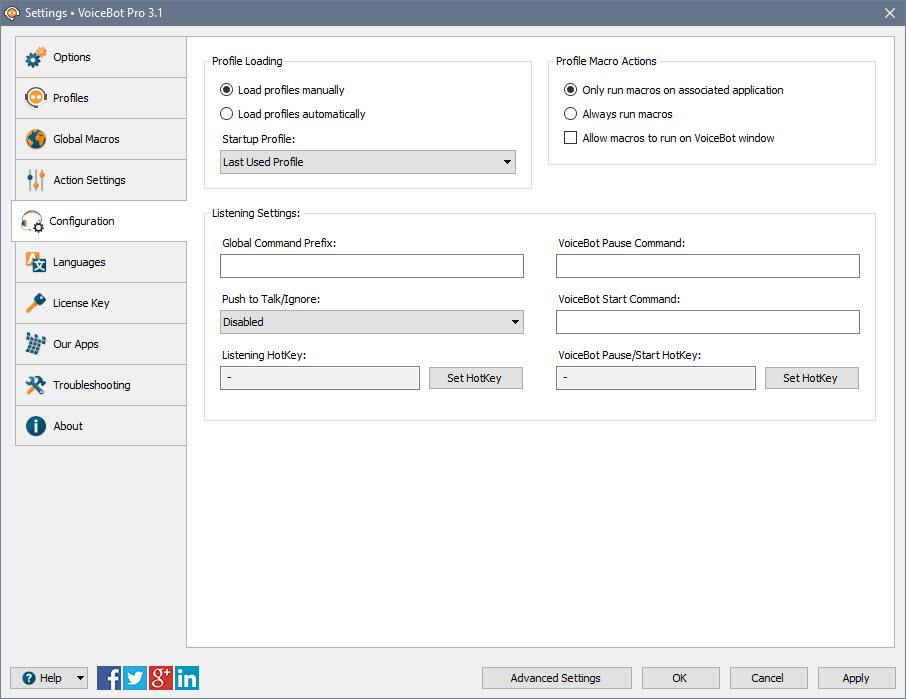 Settings > Configuration Tab