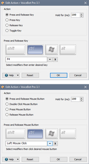 Edit Key Press/Mouse Click Action